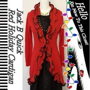 Jack B Quick Red/Black Holiday Cardigan-Small